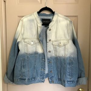 Two-toned Denim Jacket with Distressed Detailing
